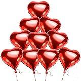 DOXMAL Herz-Ballon, 12 Pcs Folienluftballons Große Helium Leuchtende Gas Luftballons Hochzeit, Dekoration Luftballons Herz Folie Helium-Ballons Rot