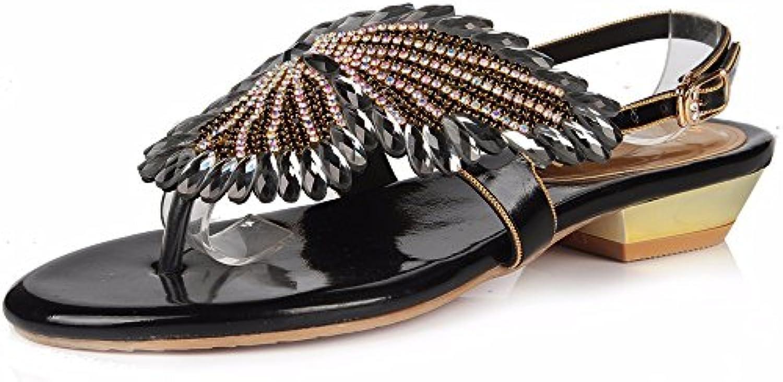 YMFIE Scarpe Scarpe Scarpe outdoor da donna strass a punta aperta con strass lussuosi, 36 EU, nero | Moda Attraente  3550ad