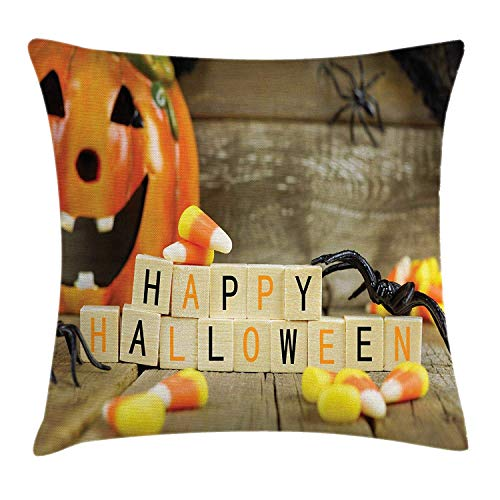 VICKKY Halloween Throw Pillow Cushion Cover, Happy Halloween Wooden Blocks with Candy Corns and Spiders Blurred Background, Decorative Square Accent Pillow Case, 18 X 18 Inches, Multicolor