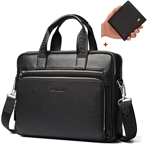 BISON DENIM Herren klassische Leder Aktenkoffer Laptop Schulter Messenger Bag Business Tote (Black[2PCS]) (Bag Tote Fashion Black)