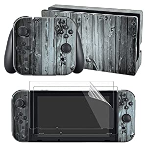 eXtremeRate Nintendo Switch Sticker Aufkleber Skin Folie Abziehbild Faceplates Decal Klebefolie mit 2 Displayschutzfolie für Nintendo Switch Console&Joy-Con&Dock&Grip(Holzmaserung)