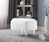 Iconic Home FON2645-AN Fiorino Sitzbank, modernes Design, Kunstfell, Acryl, Weiß