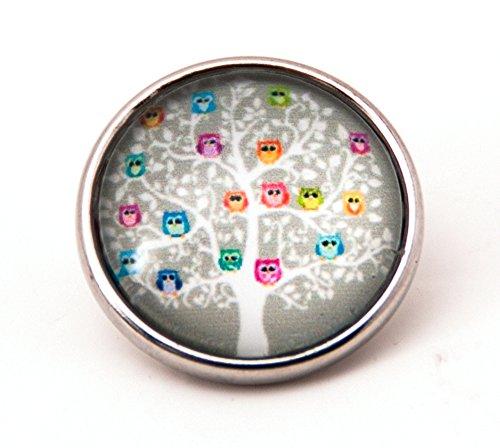 """sekka jewelry® Click-Button Baum mit bunten Eulen-\""""CH3963"""