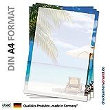 Motivpapier Briefpapier (Strand-5069, DIN A4 25 Blatt) Sandstrand mit Palmen Liegestuhl und Sonnenschirm am blauen Ozean in der Karibik