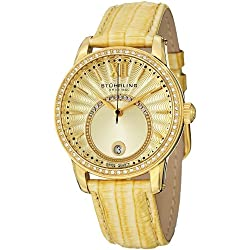 Stuhrling Original Women's 544.1135A15 Vogue Audrey Dawn Quartz Swarovski Crystal Date Gold Tone Watch