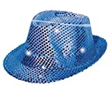Folat 24074 Tribly Party Hut mit Pailletten und LED Beleuchtung, Unisex-Erwachsene, Blau, Einheitsgröße