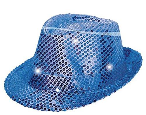 Folat 24074 Tribly Party Hut mit Pailletten und LED Beleuchtung, Unisex-Erwachsene, Blau, Einheitsgröße -