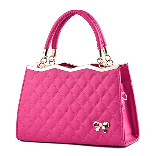 HQYSS Borse donna Borsa in pelle PU Bow signora in rilievo Tracolla Messenger Zipper Tote 30 * 10 * 20cm , purple taro rose red