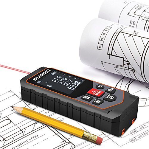 Suaoki S7-100m Telémetro láser, Medidor láser de distancia Metro láser con Cálculo de Área, Volumen, Pitágoras, Suma, Substracción, Sensor Ángulo, Auto, Nivel y Altura, Baterías Incluidas …