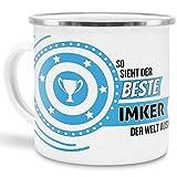 Emaille-Tasse mit SpruchSo Sieht der Beste Imker der Welt aus - Beruf/Arbeit / Hobby/Edelstahl-Becher/Metall-Tasse/Kollege
