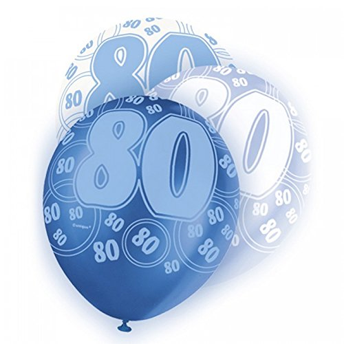 Unique Party - Globos azul variados 80th Birthday/ 80 cumpleaños 30cm (pack de 5) (Talla Única/Blanco/Azul)