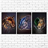 Juabc Leinwand Gedruckt Poster HD Tiger Felid Malerei Wandkunstwerk Bilder Modular Für Kinderzimmer Moderne Dekoration-50x70cmx3 Kein Rahmen