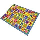 JVL Spielmatte für Kinder, für Kinderzimmer/Spielzimmer, 80 x 110 cm Zahlen und Buchstaben
