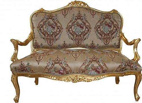 Casa Padrino Barock Sofa Creme Muster/Gold - Italienischer Stil - Barock Möbel - prunkvoll und ausgefallen!