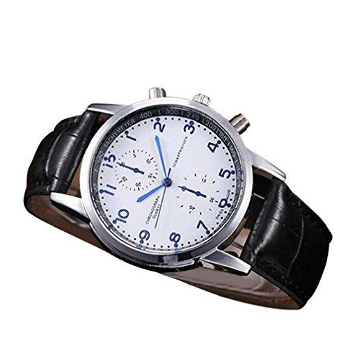 Fittingran orologio da donna sportivo da uomo orologio da polso da uomo in pelle con quadrante in acciaio inossidabile unisex (blu scuro)