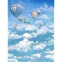 Colores de globos aerostático cielo Azul foto fondos fotografía blanco nubes 3d niño cabina de dibujo de fondo para gamuza de papel pintado digital