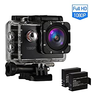 Action Camera Action Cam Sport Camera Waterproof Camera Full HD 1080P Ultra 170° Wide-Angle Lens with Dual 1050mAh Batteries