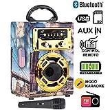 DYNASONIC - Mini Altavoz Bluetooth Portátil, Diseño Londres 120-1, Color Rojo | Mini Altavoz Inalámbrico Karaoke