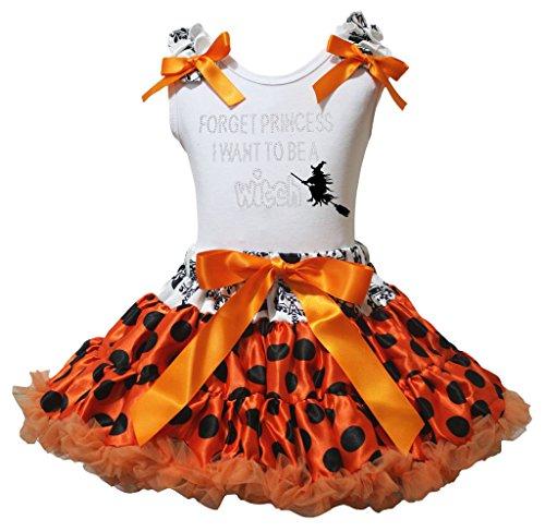 Want To Be A Hexe weiß Shirt schwarz Dots orange Rock–74bis 122 Gr. xl, Orange (Orange Tutu Hexe Kind Kostüme)