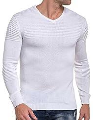 BLZ jeans - Pull blanc moulant fine maille nervuré