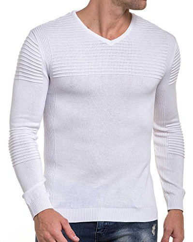 BLZ jeans - Pull blanc moulant fine maille nervuré Blanc
