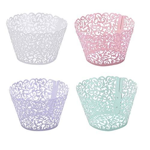 Mogoko 100 Stk. 4 Farbe Cupcake Wrappers Kuchen Pappbecher Verpackungen Kuchenverpackung für Hochzeit Geburtstag Feiern Baby Dusche Dekoration