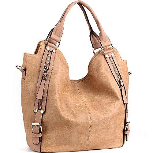 iYaffa Handtaschen Damen Taschen Schultertaschen Umhängetaschen Handtaschen für Frauen PU Leder Tote Hobo Taschen Damen Henkeltaschen Groß (L:31CM * H:36CM * W:15CM) Aprikose (Tote-shopper-tasche-handtasche)