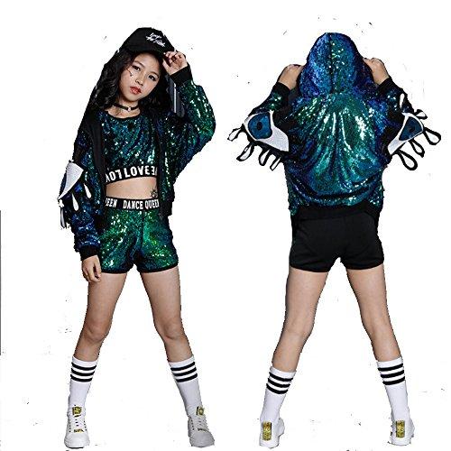 VoleseniTM Mädchen Kinder Modern Jazz Hip-Hop Dancewear Kids Dance Pailletten Mantel Kostüm, grün, 140 cm (Zusammen Kostüm)