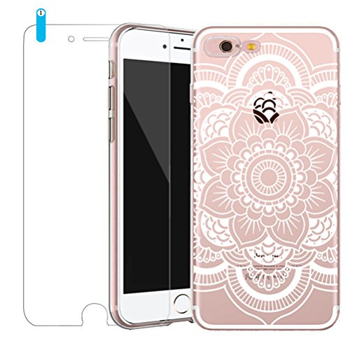 Cover iPhone SE/5/5s [Pellicola Protettiva in Vetro Temperato], Bestsky Custodia iPhone 6/6s Trasparente Silicone Tribal Henna Mandala Antiurto Protettiva Shell Case per Apple iPhone SE/5/5s (4.0 poll #04