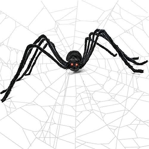 THE TWIDDLERS Gigantische 50 Zoll Spinne - Ideal für Halloween Saisonale Requisiten & Dekoration - Zittern & Kreischen rote Augen elektrisch - Perfekt deko für alle Halloween Feste