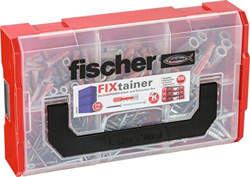 fischer FIXtainer - DUOPOWER-Dübel- und Schrauben-Box  - Für zahlreiche Baustoffe und vielfältige Anwendungen -  DUOPOWER 6 x 30, 8 x 40, 10 x 50 - 210 Teile - Art.-Nr. 535969