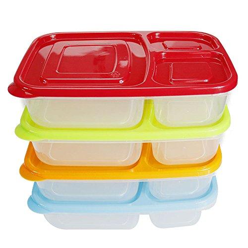 Ecloud Shop® 3-Fach Bento Lunchbox Container, Multi Color Portion Control Lebensmittelaufbewahrungsbehälter mit Deckel (4er Set) (Multicolor-lagerung-container)