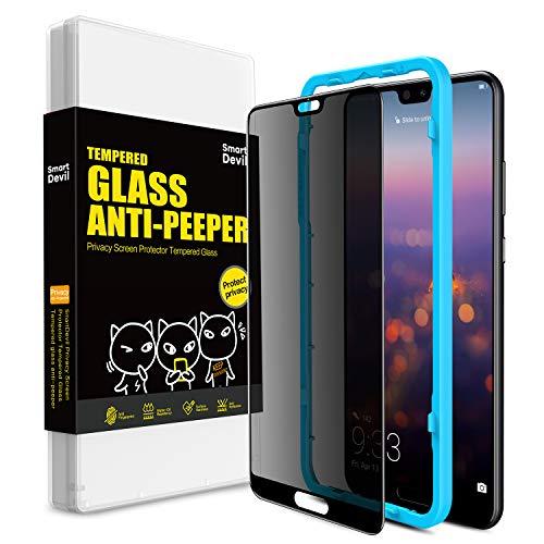 SmartDevil für Huawei P20 Pro Panzerglas Schutzfolie,Anti-Spähen Gehärtetem Blickschutzfolie,[mit Installation Werkzeug] 9H Härte,Blasen und HD-Klar,Panzerglas Schutzfolie für Huawei P20 Pro
