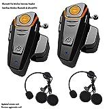 Powerman Tech Motorrad Headsets Bluetooth Motorradhelm Intercom Wasserdicht Gegensprechanlage Wireless Sprechanlage Helm Headset mit 1000m, GPS, FM Radio, MP3 Player