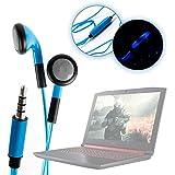 DURAGADGET Auriculares In-Ear Con Luz LED Azul Para Acer Nitro 5 / Asus ZenBook UX3410UQ (GV077T) / HP 17-x078ng , Envy 13 HP Stream 14-ax032ng / Huawei MateBook D / Medion Akoya E2221T , Akoya S6421 , Erazer P6681- ¡Las Luces Se Mueven Al Ritmo De La Música!