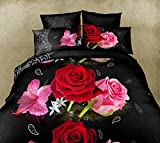 Unico 3D set di biancheria da letto matrimoniale king size copripiumino + 2federe 3pcs set nero con rose in microfibra Feel, Black, King