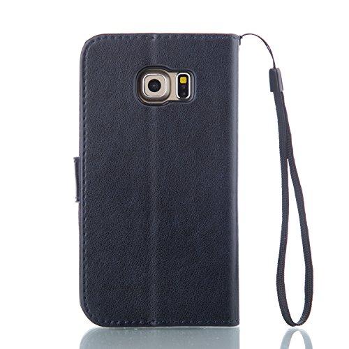 Galaxy S6 Edge Hülle,Galaxy S6 Edge Schutzhülle,Galaxy S6 Edge Case,Galaxy S6 Edge Leder Wallet Tasche Brieftasche Schutzhülle,ikasus® Prägung Klee Blumen Muster PU Lederhülle Flip Hülle im Bookstyle  Groß Schmetterling:Marine Blau