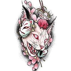 Impermeabile Pegatinas Tatuaje Pegatinas Arcoiris Resistente Al Sudore Dibujos Etiqueta Engomada Del Tatuaje De La Cabeza Del Gato 3Pcs 21Cm * 15Cm