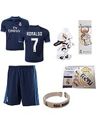 iSport Gifts® Real Madrid Bleu Ronaldo # 7enfants Soccer Jersey et short Soccer Fans de foot 6en 1Kit cadeau Youth Tailles YS/YM/yl (Youth Medium 8–10ans, Ronaldo # 7)