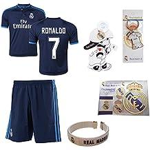 iSport Gifts® Real Madrid Bleu Ronaldo # 7enfants Soccer Jersey et short Soccer Fans de foot 6en 1Kit cadeau Youth Tailles YS/YM/yl (Jeunesse Grande 10–13ans, Ronaldo # 7)