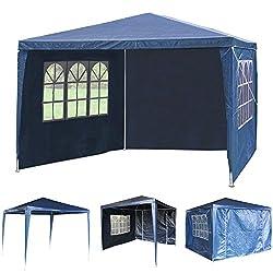 3Mx3M PE Garden Gazebo Awning Party Wedding Tent With Full sidewall (Blue)