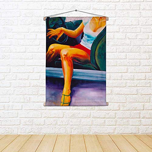 ArtzFolio Fashion Woman Silk Painting Tapestry Scroll Art Hanging 22 X 30Inch -