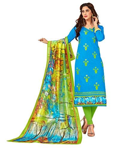 Priyavadhu Women's Slub Cotton straight Unstitched Salwar kameez Dress material (BLBSTR1001_Sky Blue_Free...