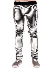 Hommes Tube Jeans Blanc & Noir Rayure Punk Rock Glam Rétro Indie Vintage Goth 28 30 32 34 36
