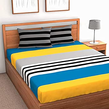 Loreto 144 TC 100% Cotton Stripe Double Bedsheet with 2 Pillow Covers, Multi Colour (Double)