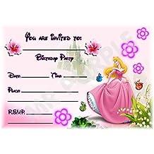 Sleeping Beauty Disney princesa fiesta de cumpleaños invitaciones–paisaje diseño de flores–accesorios de fiesta/invitaciones de accesorios (Pack de 12) WITHOUT Envelopes