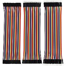 eBoot Cables de Puente de Tablero Conector Kit de Cables Planos Alambre Dupont 40 Pin M/ M, 40 Pin M/ F, 40 Pin M/ F Multicolores para Arduino, 120 Unidades