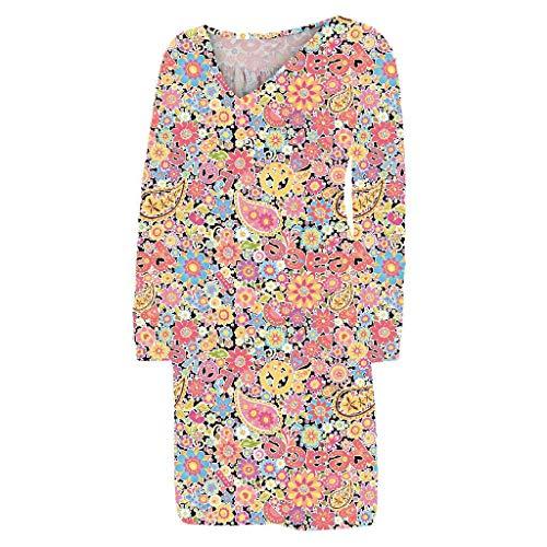 Subfamily Kleider für Damen Große Größen Bedruckte Freizeitkleider V-Ausschnitt Langarm Einteiler Kleid Kurz Locker (Gelb,2XL)