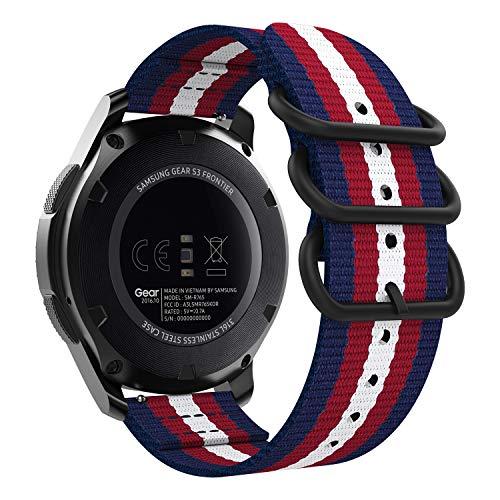 MoKo Bracelet Compatible Avec Samsung Gear S3/Gear S3 Classic/Frontier/Galaxy Watch 46mm/Moto 360 2nd 46mm, Bracelet en Nylon Tissé Bracelet de Remplacement avec Anneaux Doubles - Bleu & Rouge & Beige