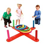 Koedu Baby Kid Hoop Ring Toss Plastic Ring Toss Quoits Garden Game Pool Toy Indoor&Outdoor Pegs&Ropes Hoopla Family Fun Game Toy Educational Puzzle Toy Child Gift
